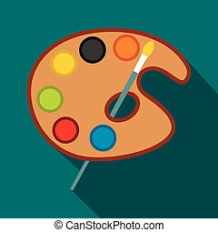 Art palette with paint brush icon, flat style