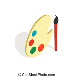 Art palette with paints and brush icon