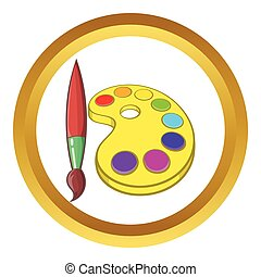 Art palette with paints and brush vector icon