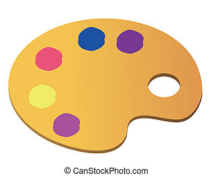 Wooden art palette with blobs of paint on white background with clipping path