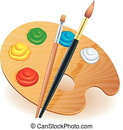 Wooden art palette with paints and brushes.