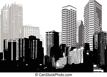 art, panorama, vecteur, noir, blanc, cities.
