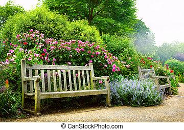 art, parc, matin, anglaise, banc, fleurs