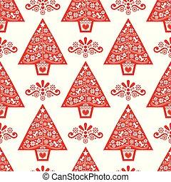 art, pattern-, style, arbre, scandinave, conception, fleurs, folklorique, flocons neige, vecteur, seamless, oiseaux, noël