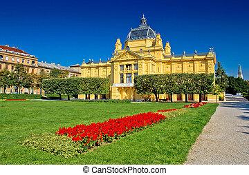 Art pavilion in colorful park, Zagreb