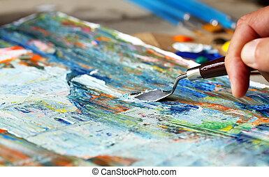 art, peinture, à, spatule