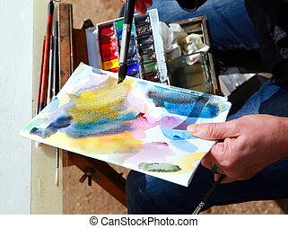 art, peinture, à, watercolors.
