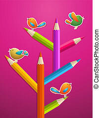 Art pencils and birds Christmas tree