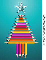 Art pencils Christmas tree
