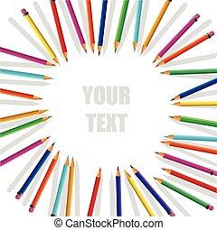 art, pencils., fond, créatif
