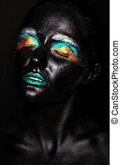 art, photo, de, beau, modèle, femme, à, créatif, plastique, inhabituel, noir, masque, clair, coloré, maquillage, à, noir, figure