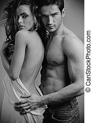 art, photo, de, séduisant, sensuelles, couple