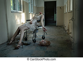 Art photo of the patient with cut head in the abandoned hospital