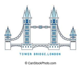 art plat, tour, symbole, angleterre, illustration, style., célèbre, vue, vecteur, ligne, londres, pont, européen