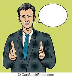 art, pointage, deux, pop, vecteur, mains, homme affaires