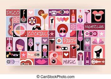 art, pop, disco, vecteur, illustration, fête