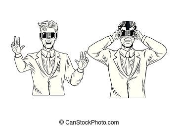 art, pop, réalité, virtuel, homme affaires, lunettes