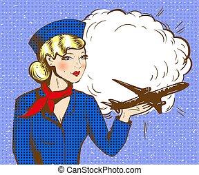 art, pop, vecteur, illustration, avion, hôtesse