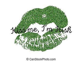 Art poster vector illustration with green glitter lips print.