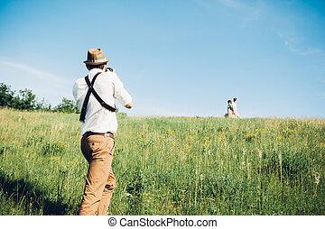 art, prend, nature, photographe, palefrenier, mariée, mariage, images, amende, photo