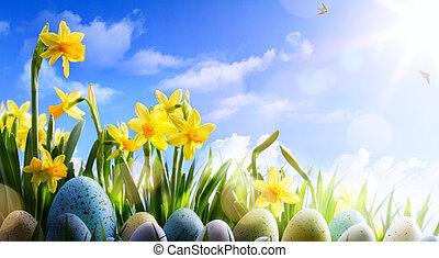 art, printemps, oeufs, arrière-plan;, fleurs, paques