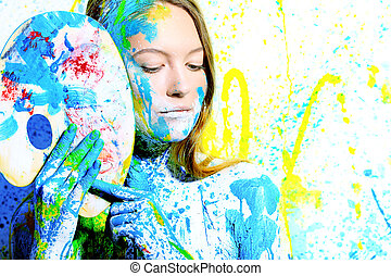 paint - Art project: beautiful woman painted with many vivid...