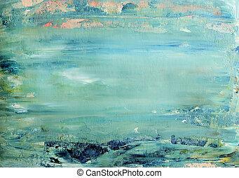 art, résumé, arrière-plan bleu, peint, à, acrylique, colors.