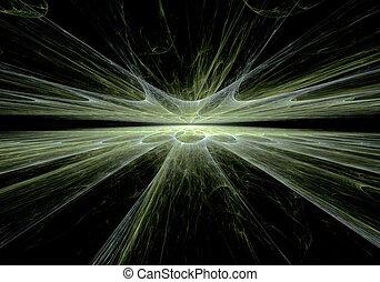 art, résumé, vert, perspective, numérique, ligne, fractal