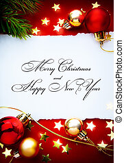art Red Christmas background with paper frame