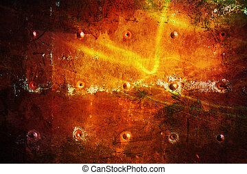 art red Grunge texture; Dark metal Background