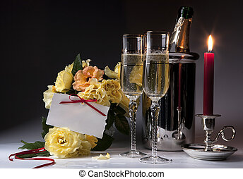 Art Romantic card with burning candles and champagne -...