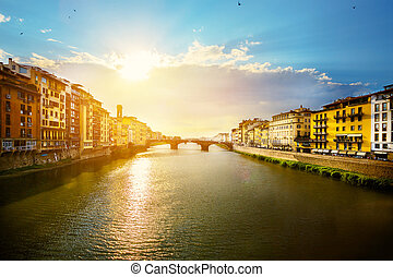 art romantic evening in Florence. Italy.