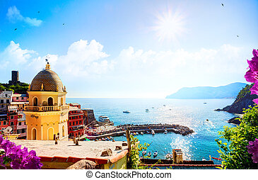 Romantic Seascape in mediterranean Italy old town; Five lands, Vernazza, Cinque Terre, Liguria Italy Europe.