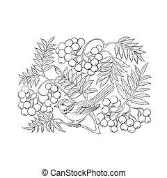 Art rowan tree isolated over white. Vector illustration.