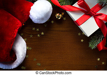 art, santa, year;, arbre, joyeux, nouveau, chapeau, noël, heureux