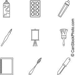 Art school icons set, outline style