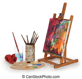 art school - painting on canvas, art palette, brushes and...