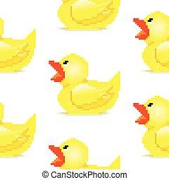 art, seamless, patern, canard caoutchouc, pixel