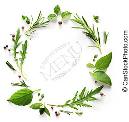 art seasoning Herb; restaurant menu; cooking background - ...
