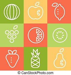 art, set., vecteur, fruits, illustrations, ligne, style.