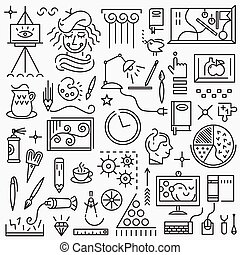 Art - set vector icons