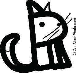 art, simple, illustration, chat, vecteur, ligne
