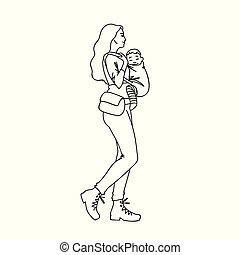 art, simple, isolé, style., sketch., elle, concept., jeune, arrière-plan., vecteur, noir, dessiné, blanc, baby., femme, illustration, main, enfant, bébé, ligne, promenade, prendre, lignes, porteur, mère