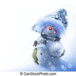 Art smiling snowman, blank page corner