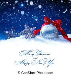 art snow christmas decoration magic lights background - snow...