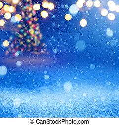 Art snow christmas magic lights background