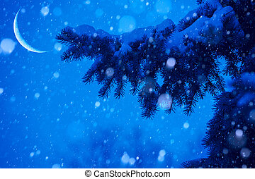 art snow christmas tree magic lights background
