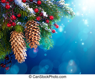 branch of the snowy Christmas tree on night blue background