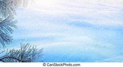 art Snowy winter Christmas Landscape; Blue Christmas tree;