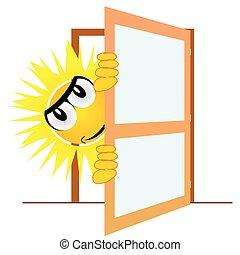art, soleil, illustration, vecteur, ouverture porte